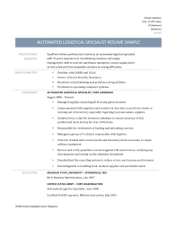 Forklift Experience On Resume Automated Logistical Specialist Resume Samples 2017