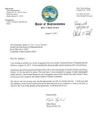 Executive Letter Of Resignation Another South Carolina Lawmaker Resigns Myrtle Beach U0027s Mike Ryhal