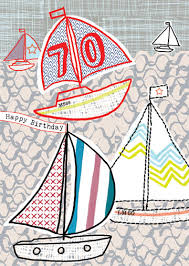 happy 70th boats birthday card karenza paperie