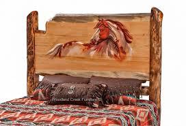 carved log bed cabin furniture lodge bedroom rustic