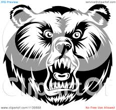 bear face clipart black and white