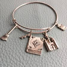 silver bracelet with charms images Silver bracelet fantasy wizard inspired by bangle charm book jpg