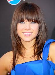 shoulder length straight hairstyles with bangs and layers for dark