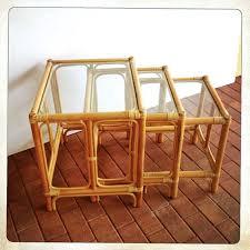 vintage rattan nesting tables vintage rattan nesting tables glass top set of 3 rattan tables