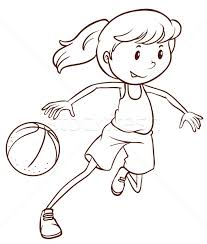 a simple sketch of a female basketball player vector illustration