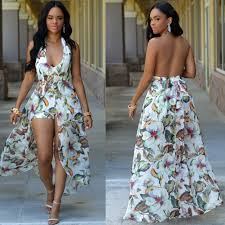 women floral flower boho dress halter neck long maxi party beach