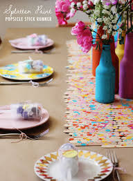 make your own table runner diy popsicle stick table runner and bottles