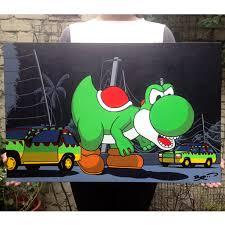 jurassic park car trex broosart acrylic painting yoshi mario mariobros jurassic