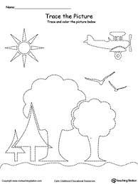 trace the picture scenary trees sun airplane and birds