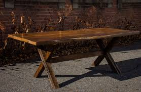 hand crafted reclaimed american chestnut dining table with