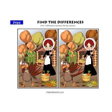 find the differences thanksgiving printables