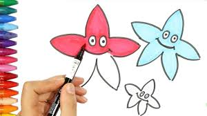 how to draw stars with 3 colors how to draw and color kids tv