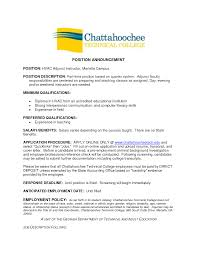 Cover Letter For College Employment Adjunct Instructor Cover Letter