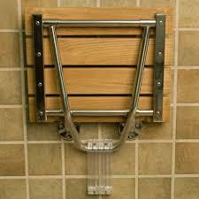 Wood Shower Stool Wall Mount Folding Teak Shower Seat Bathroom