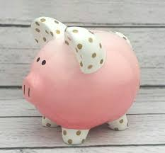 customized piggy bank personalized piggy bank coral and gold ombré ombre polka dot