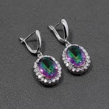 purple drop earrings aliexpress buy luxury 925 silver women jewelry manny color