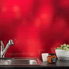 Red Backsplash Kitchen Interior Aspect