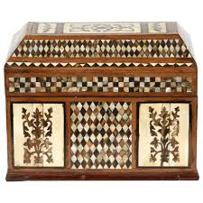 large ottoman mother of pearl rosewood tortoise inlaid jewelry