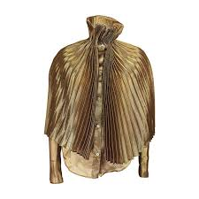 metallic gold blouse romeo gigli metallic sheer gold blouse with attached accordion