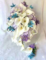 bouquet of lilies calla wedding bouquet calla turquoise and lilac