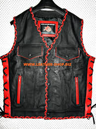 mens leather riding jacket leather vest braided 2 color mc style mlvb1301 for sale