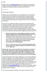 Employee Announcement Template Memo From Pepsi U0027s Hr Department That Cuts The 401 K Plan