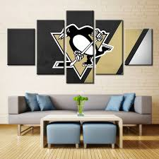 Modern Art Home Decor 5 Panel Pittsburgh Penguins Hockey Framed Canvas Print Wall Art