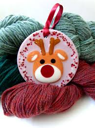 Christmas Ornament Holders Fused Glass Reindeer Ornament Hanger Christmas Seasonal Decor