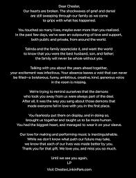 park writes chester bennington a sad open goodbye letter