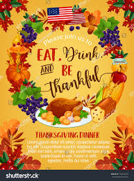 thanksgiving day greeting poster eat drink stock vector 722574502