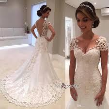 sparkle elegant short sleeves wedding dresses 2017 lace appliqued