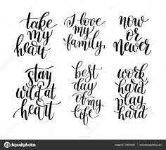 quotes about life download set of 6 handwritten lettering positive quotes about life u2014 stock