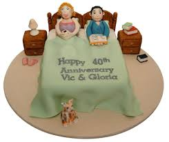 funny characters 40th bed wedding anniversary cake topup wedding