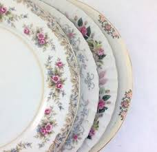 mismatched plates wedding set of 4 mismatched china dinner plates vintage wedding china