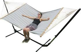 x large free standing hammock blue and white canvas hammock with
