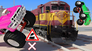 monster truck crash videos youtube vids for kids in 3d hd train monster trucks and railroad