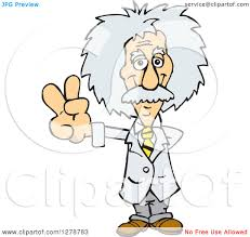 clipart of a senior scientist albert einstein gesturing peace