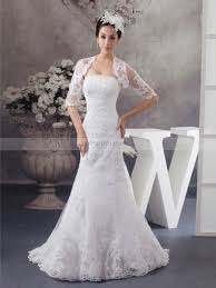 matching wedding dresses strapless mermaid lace wedding gown with matching bolero
