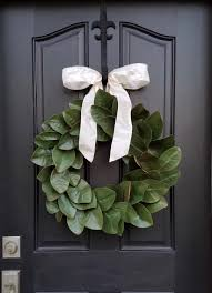 decorative wreaths for the home decor magnolia wreath with bow ornament and dark front door