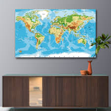 Large World Map Poster Aliexpress Com Buy Unframed Large World Map Canvas Art Print