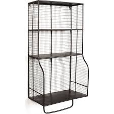 Linon Home Decor Products Inc Linon Ammeshelfw1 Distressed Wall Storage Organizer In Black Grid