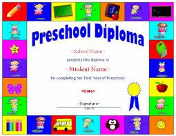 preschool diploma preschool diploma template