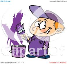 Purple Paint by Cartoon Of A Painter Boy With A Bucket Of Purple Paint Royalty