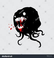 spirit halloween logo monster evil spirit tentacles gnashing bloody stock vector