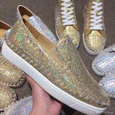 new mens womens gold glitter leather with spikes loafers low top