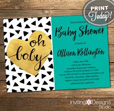 instant download baby shower invitations gold and teal baby shower invitation neutral triangles aztec