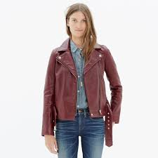 female motorcycle jackets madewell ultimate leather motorcycle jacket in red lyst