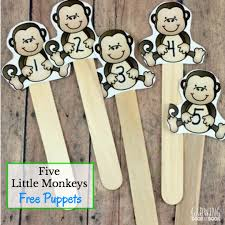 No More Monkeys Jumping On The Bed Song Five Little Monkeys Puppets And Literacy Activities