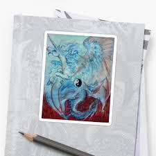 unicorn and yin yang stickers by small redbubble