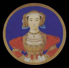 anne of cleves in scarlet dress decorated with gold embroidery